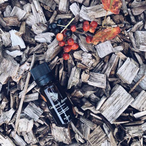 Cédrové drevo esenciálny olej fľaša na dreve s bobuľami