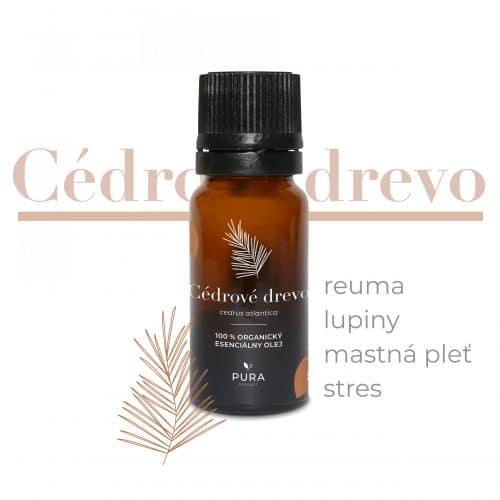Cédrové drevo organický esenciálny olej fľaša použitie reuma, lupiny, mastná pleť, stres