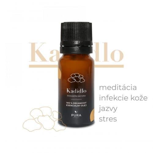 Kadidlo organický esenciálny olej fľaša účinky použitie meditácia, infekcie kože, jazvy, stres
