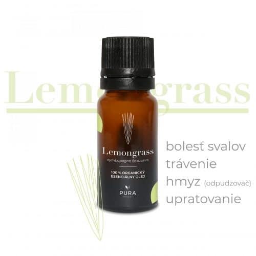 Lemongrass (citrónová tráva) organický esenciálny olej fľaša použitie bolesť svalov, trávenie, hmyz, upratovanie