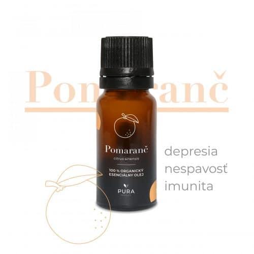 Pomaranč organický esenciálny olej fľaša použitie depresia, nespavosť, imunita
