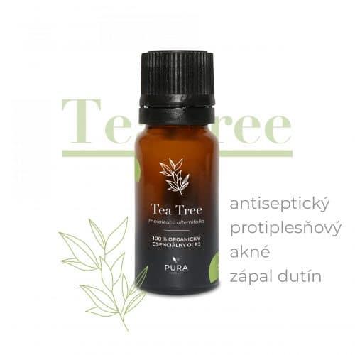 Tea Tree organický esenciálny olej fľaša použitie akné, antispetický, protiplesňový, zápal dutín